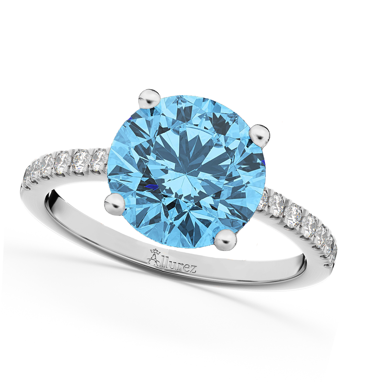 Blue Topaz & Diamond Engagement Ring Palladium 2.71ct
