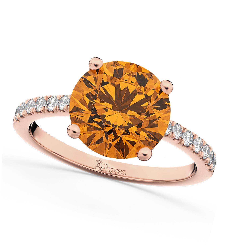 Citrine & Diamond Engagement Ring 18K Rose Gold 2.01ct