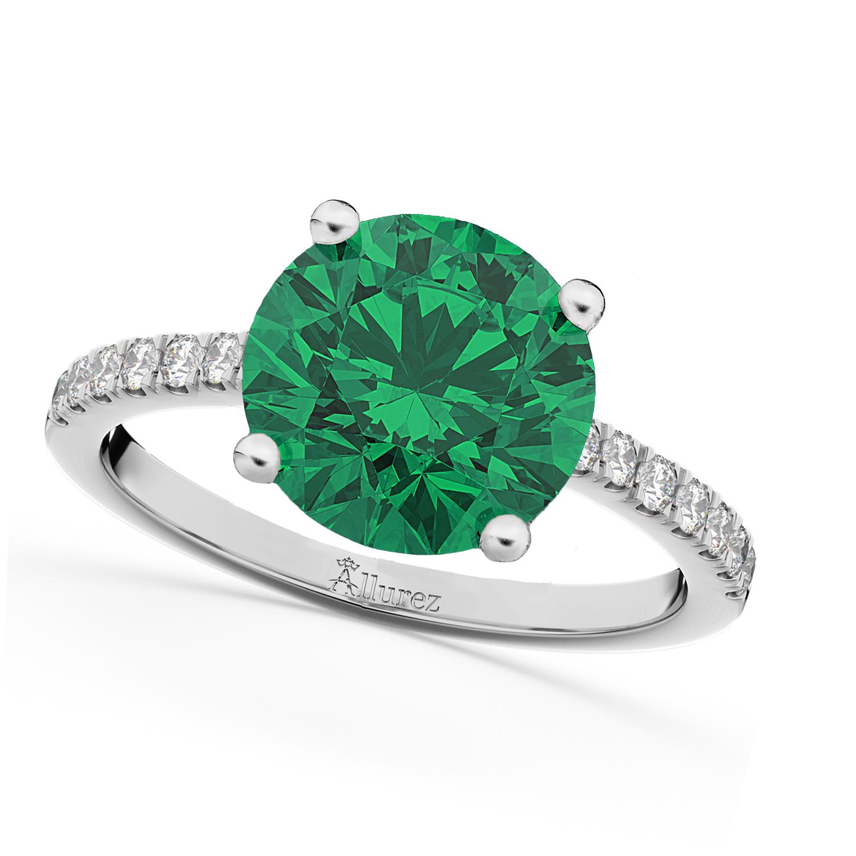 Emerald & Diamond Engagement Ring Platinum 2.51ct