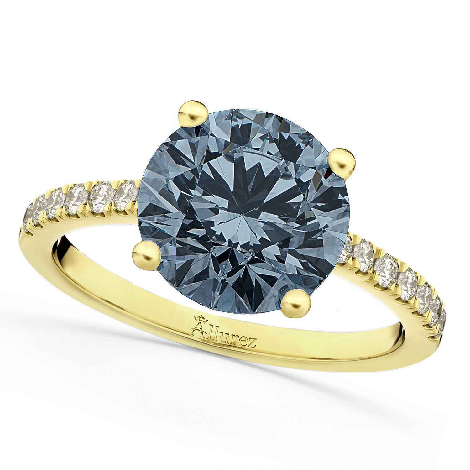 Gray Spinel & Diamond Engagement Ring 14K Yellow Gold 2.01ct