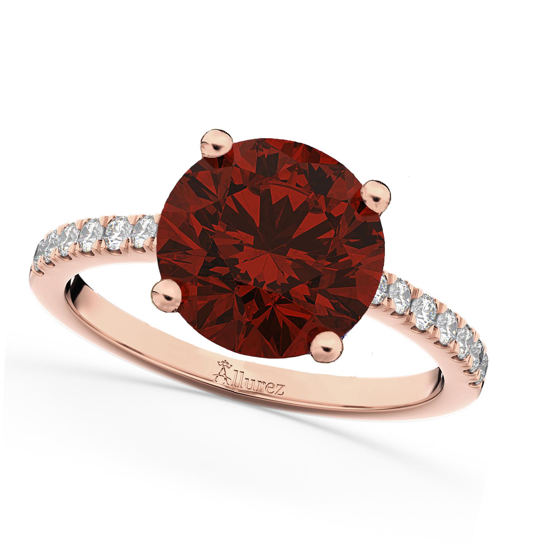 Garnet & Diamond Engagement Ring 18K Rose Gold 2.71ct