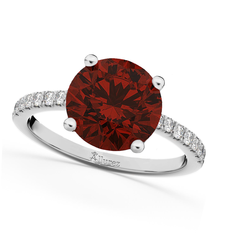 Garnet & Diamond Engagement Ring 18K White Gold 2.71ct