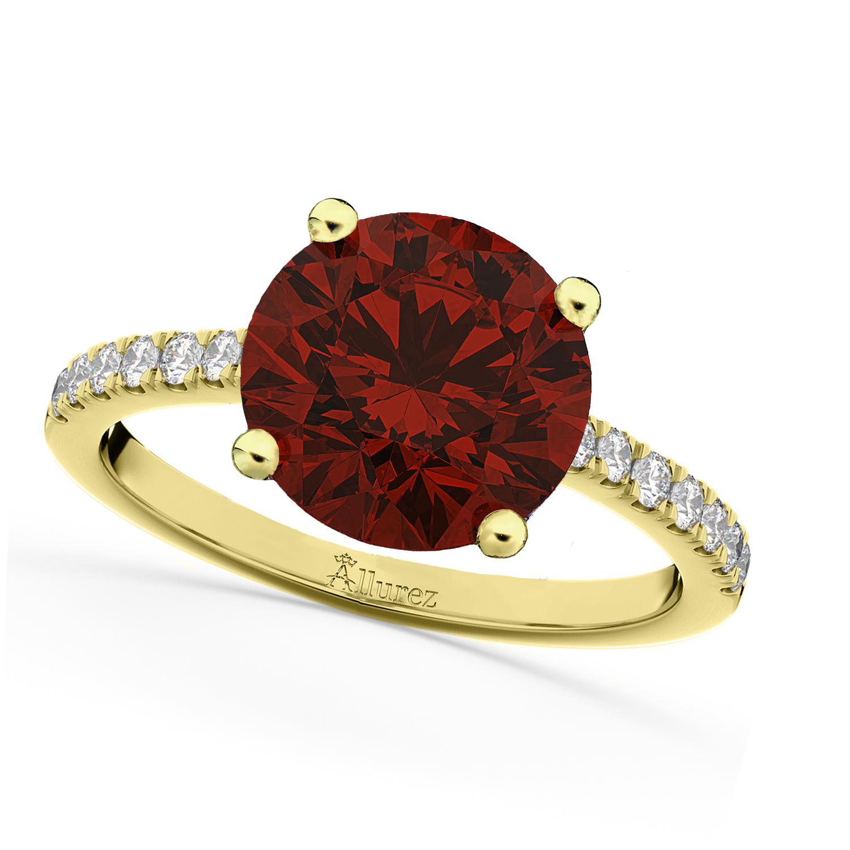 Garnet & Diamond Engagement Ring 18K Yellow Gold 2.71ct