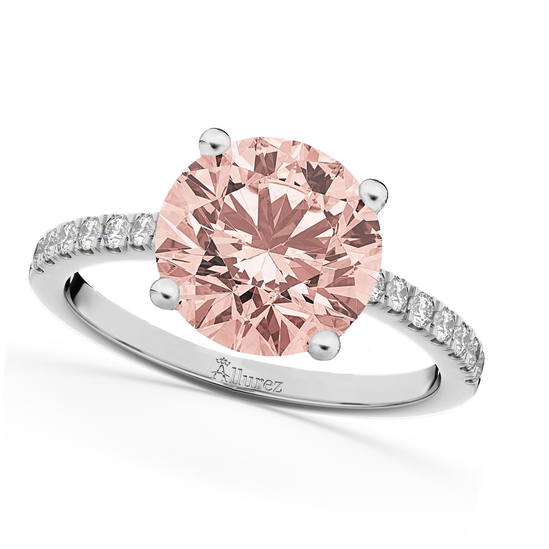 Morganite & Diamond Engagement Ring 18K White Gold 1.96ct