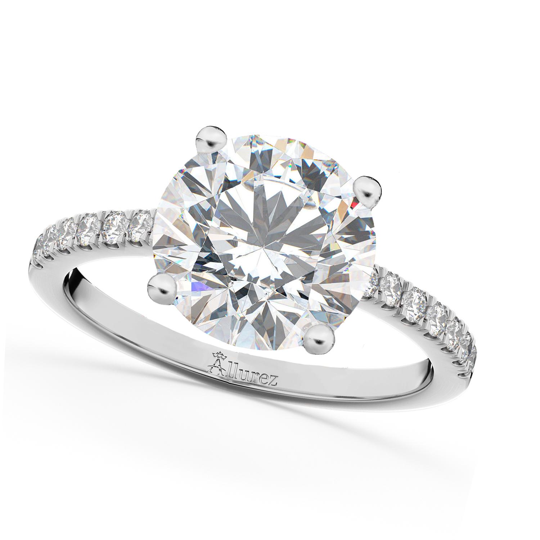 Moissanite & Diamond Engagement Ring Palladium 1.81ct