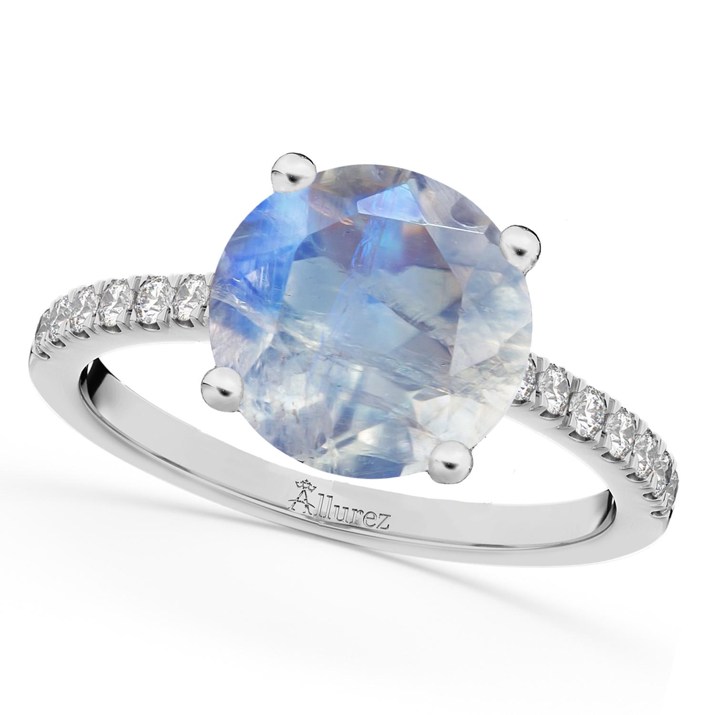 Moonstone & Diamond Engagement Ring 14K White Gold 2.71ct