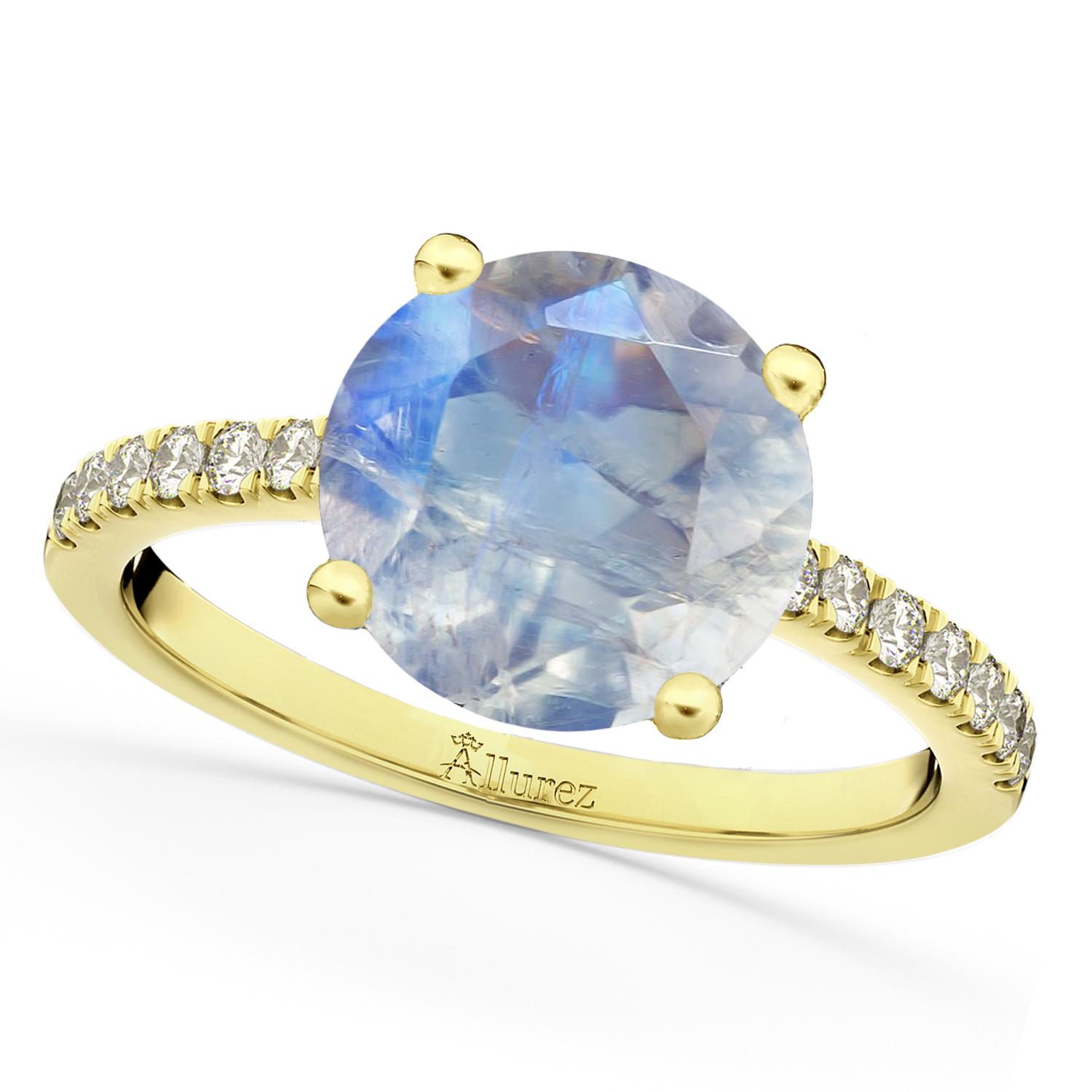 Moonstone & Diamond Engagement Ring 14K Yellow Gold 2.71ct