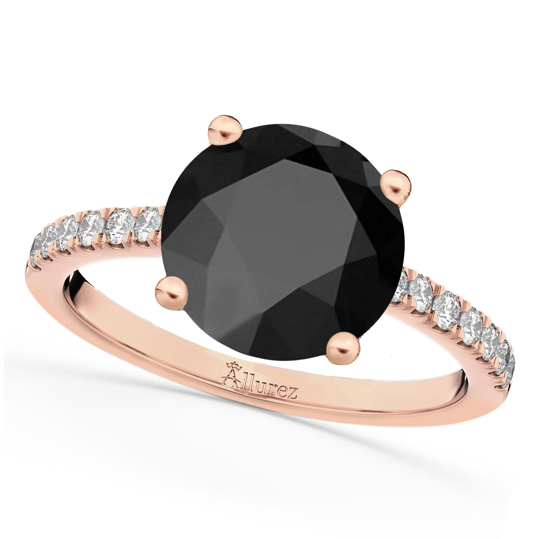 Onyx & Diamond Engagement Ring 14K Rose Gold 2.71ct