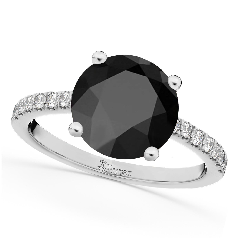 Onyx & Diamond Engagement Ring 14K White Gold 2.71ct