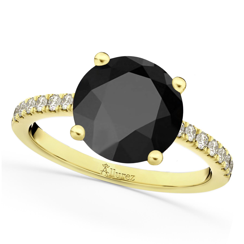 Onyx & Diamond Engagement Ring 14K Yellow Gold 2.71ct
