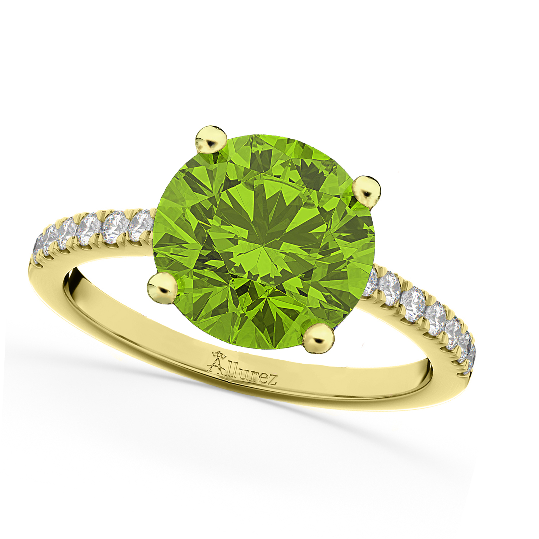 Peridot & Diamond Engagement Ring 18K Yellow Gold 2.21ct