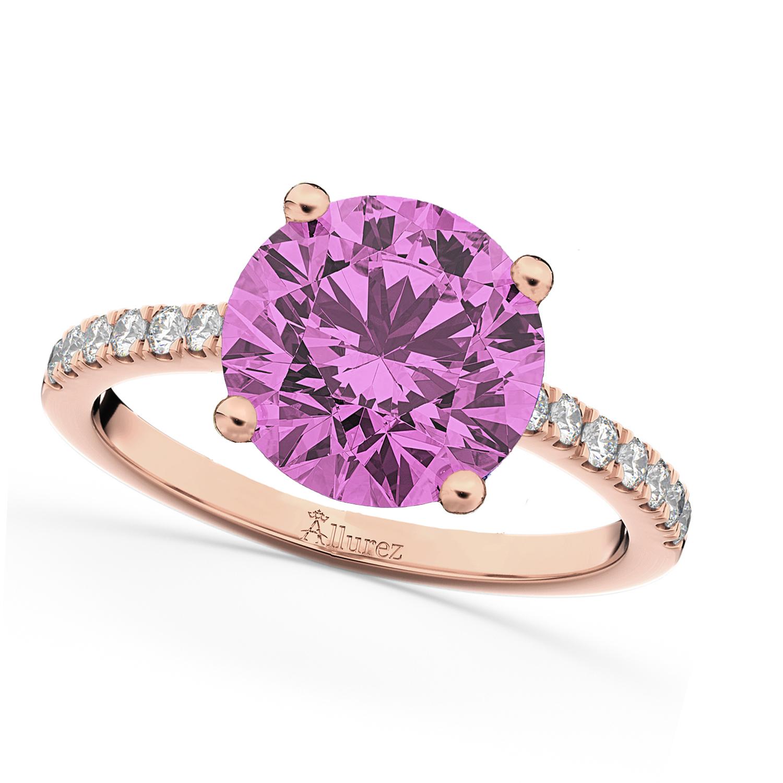 Pink Sapphire & Diamond Engagement Ring 18K Rose Gold 2.51ct