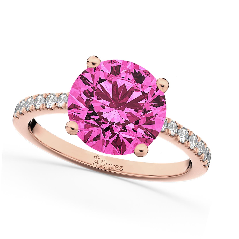 Pink Tourmaline & Diamond Engagement Ring 18K Rose Gold 2.21ct