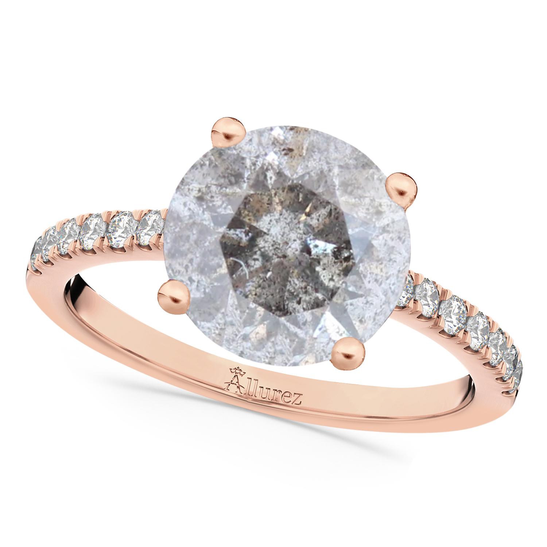 Salt & Pepper & White Diamond Engagement Ring 18K Rose Gold (2.21ct)