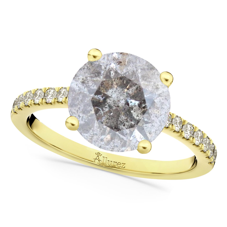 Salt & Pepper & White Diamond Engagement Ring 18K Yellow Gold (2.21ct)
