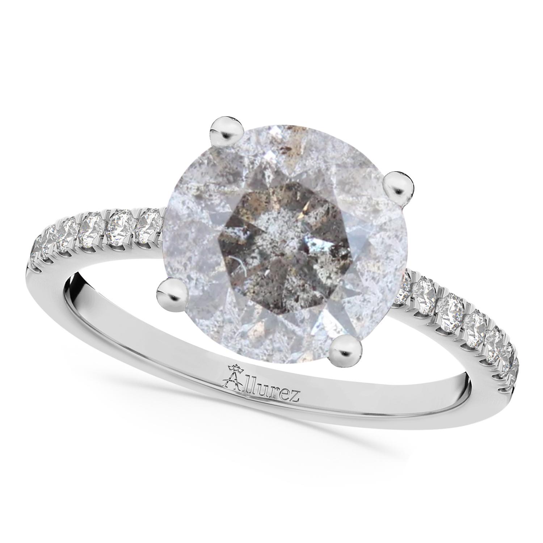 Salt & Pepper & White Diamond Engagement Ring Platinum (2.21ct)