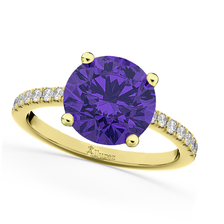 Tanzanite & Diamond Engagement Ring 18K Yellow Gold 2.51ct