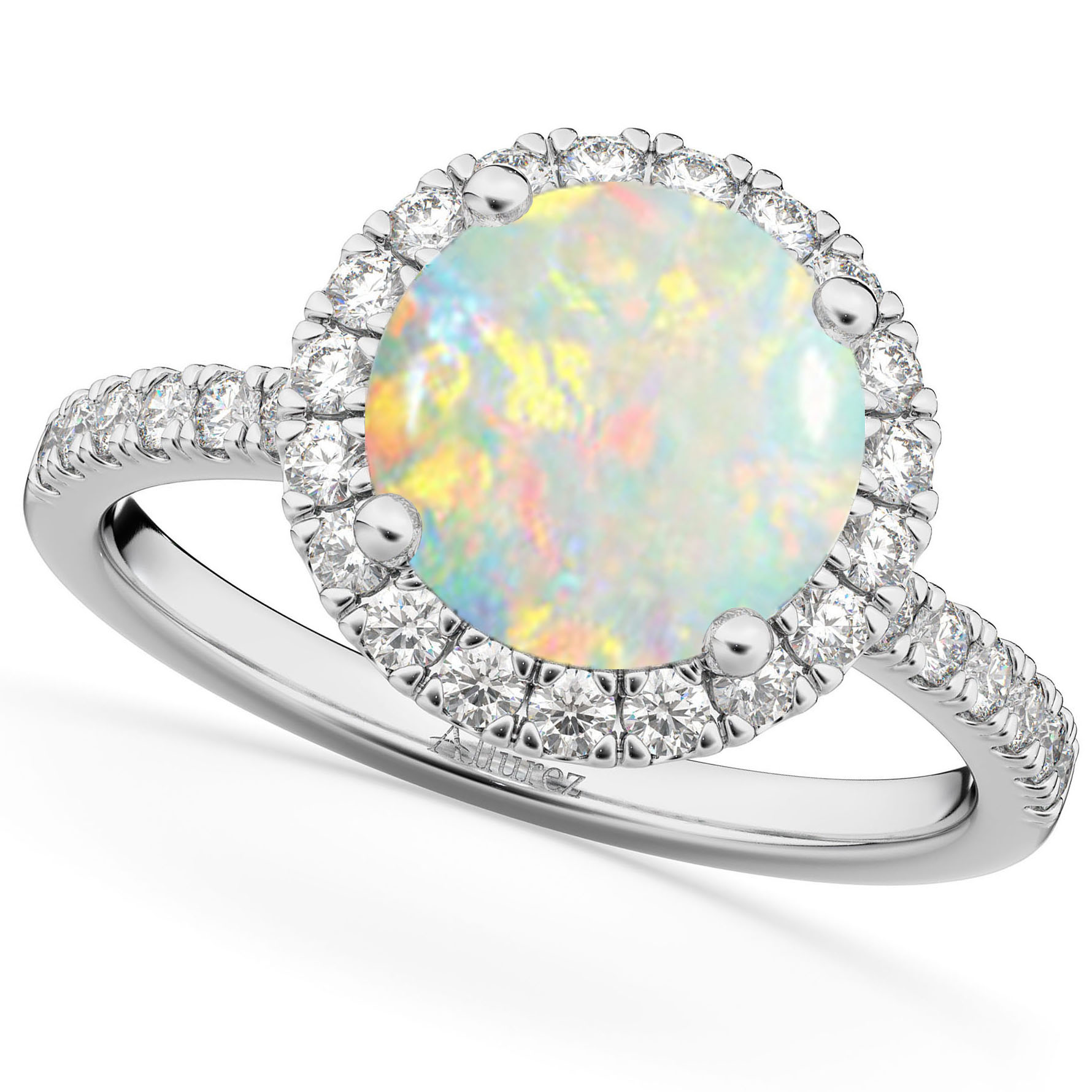 Halo Opal & Diamond Engagement Ring 18K White Gold 1.80ct