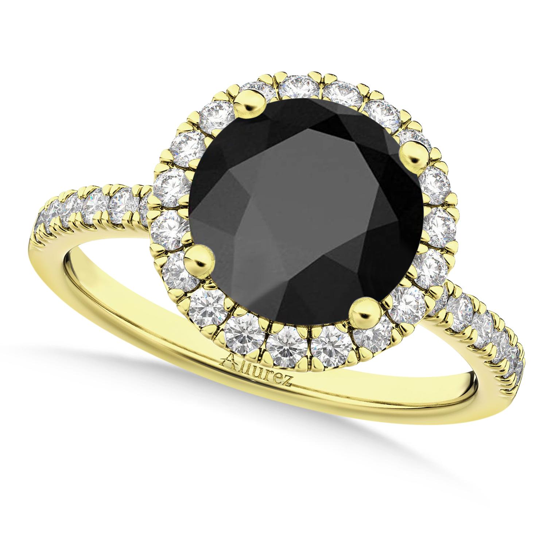 Halo Onyx & Diamond Engagement Ring 18K Yellow Gold 2.90ct