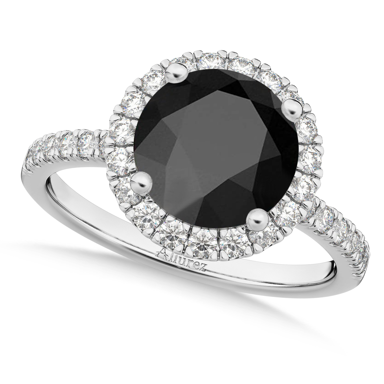 Halo Onyx & Diamond Engagement Ring Palladium 2.90ct