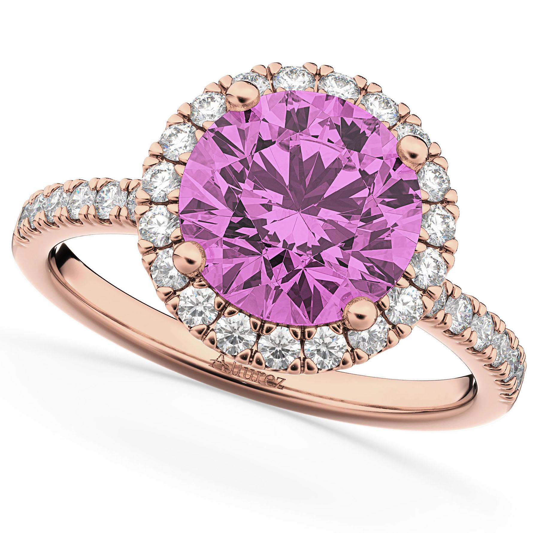 Pink Gold Diamond Bands: Halo Pink Sapphire & Diamond Engagement Ring 14K Rose Gold