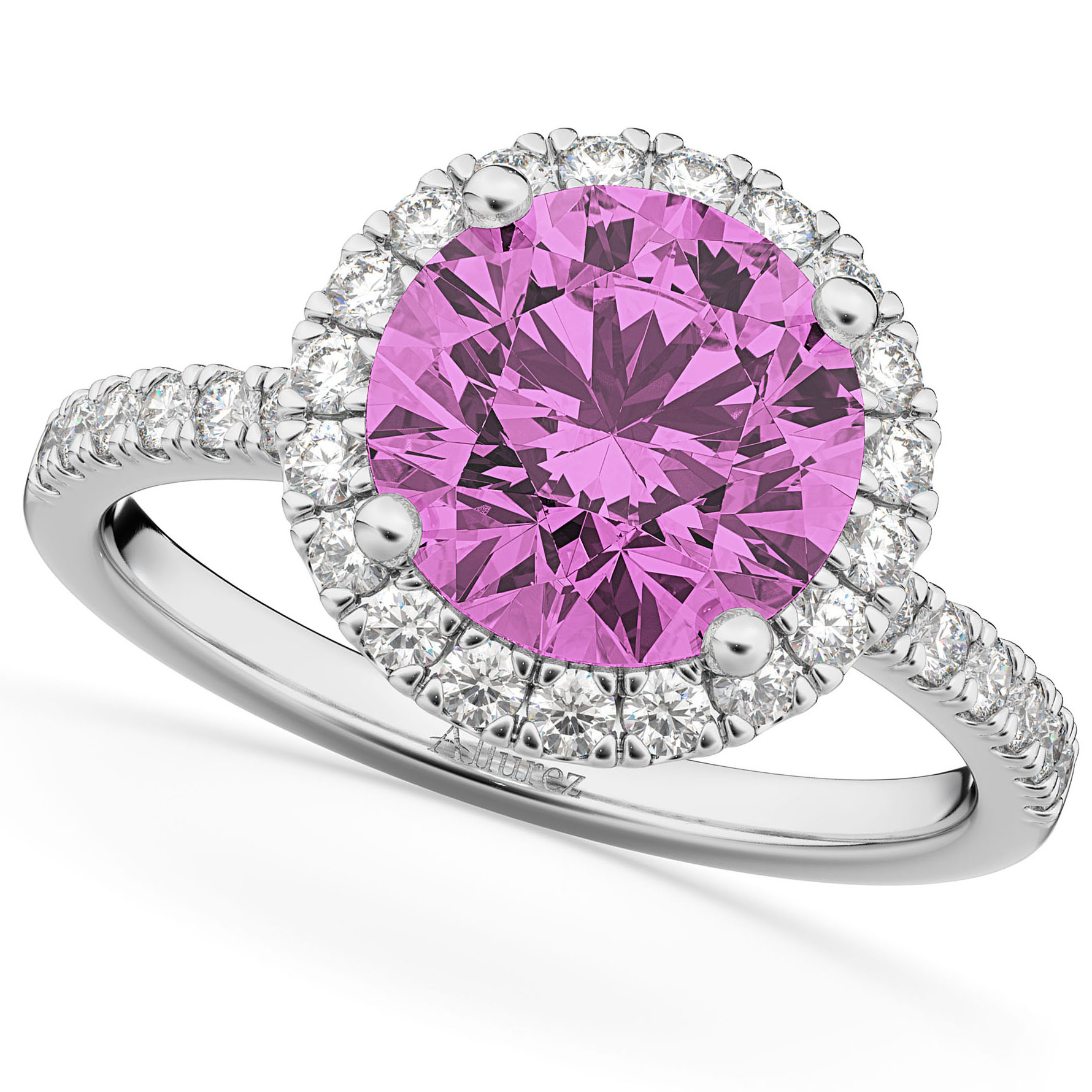 Halo Pink Sapphire & Diamond Engagement Ring 18K White Gold 2.80ct