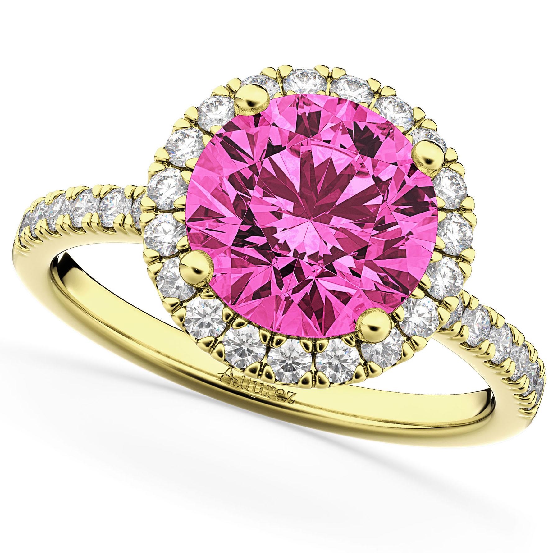 Halo Pink Tourmaline & Diamond Engagement Ring 18K Yellow Gold 2.50ct