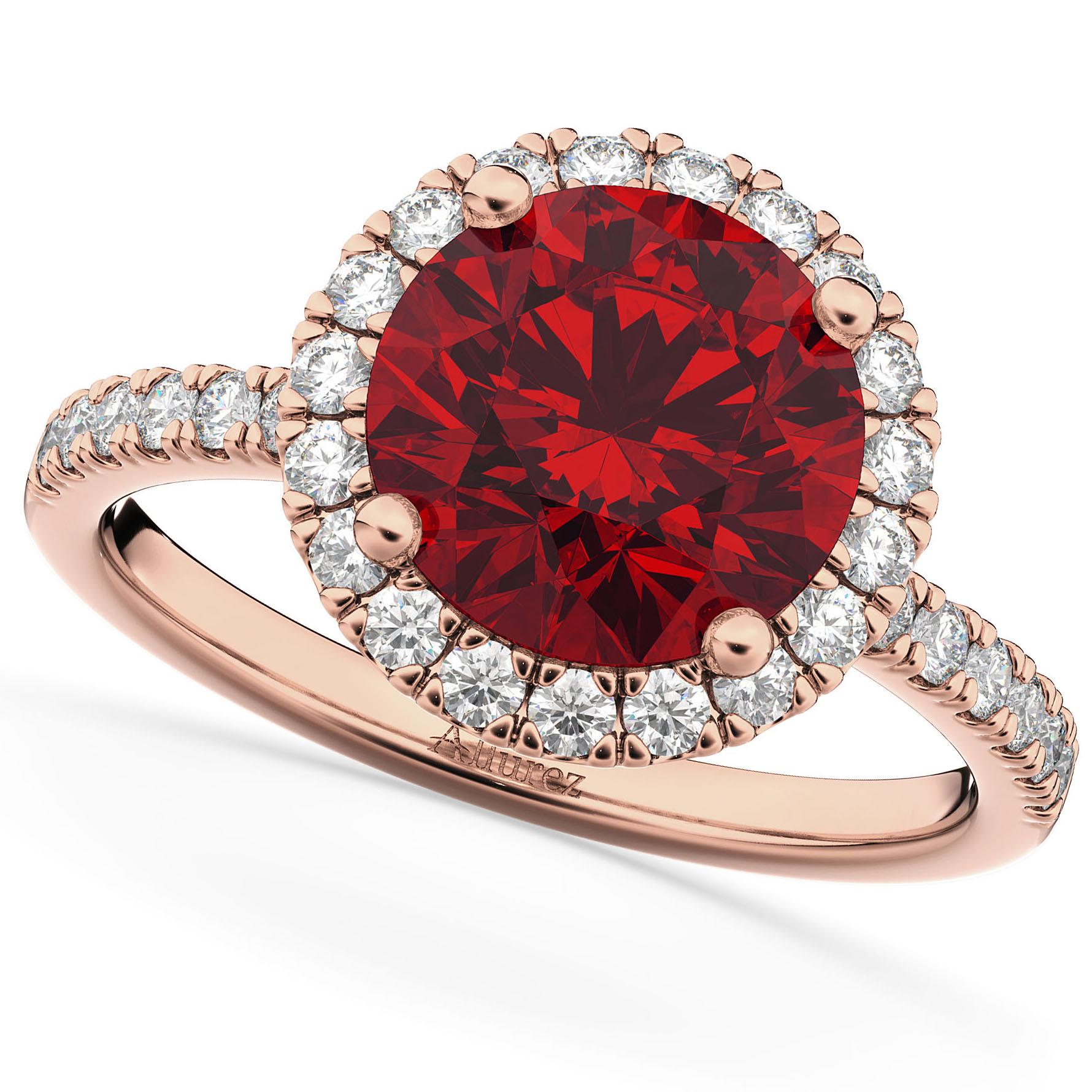 Halo Ruby & Diamond Engagement Ring 14K Rose Gold 2.80ct