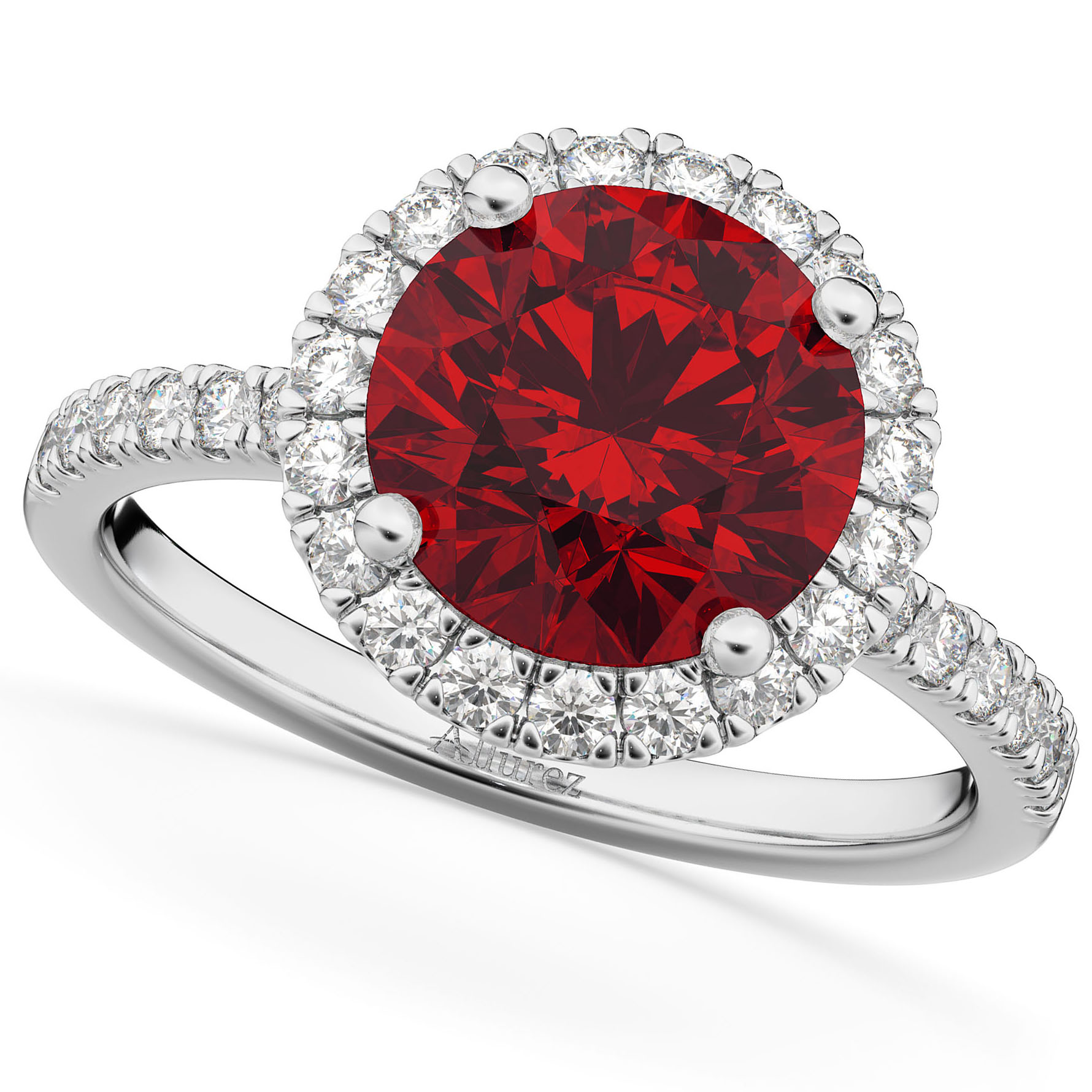 Halo Ruby & Diamond Engagement Ring 14K White Gold 2.80ct