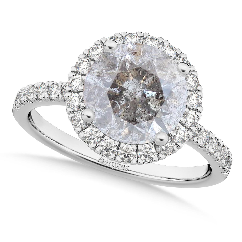 Halo Salt & Pepper & White Diamond Engagement Ring 14K White Gold (2.50ct)