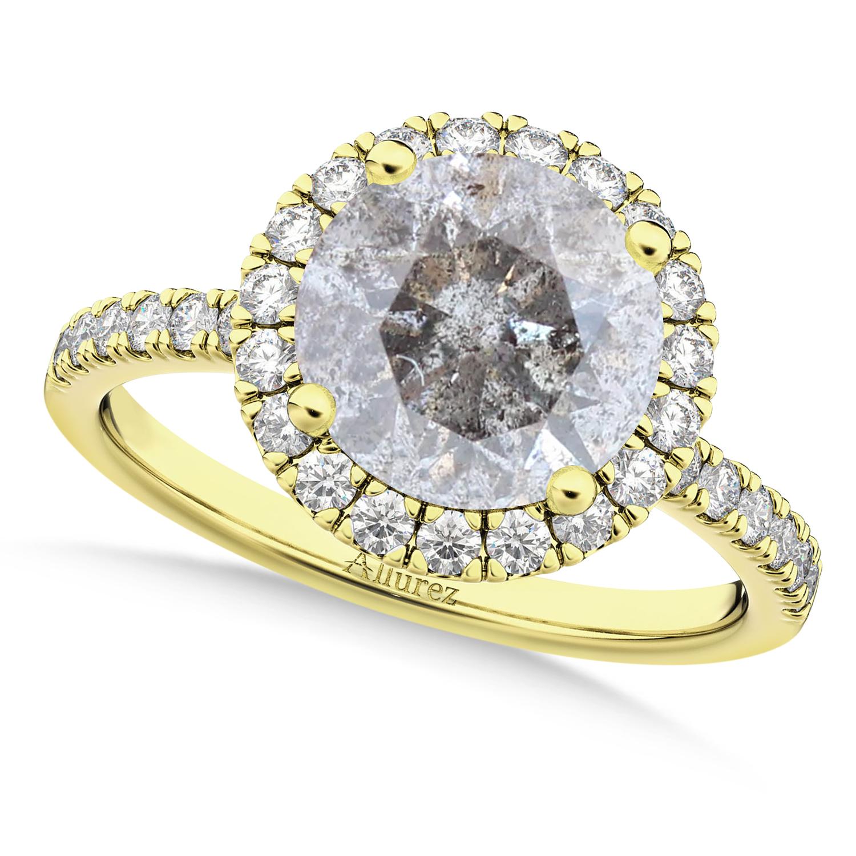 Halo Salt & Pepper & White Diamond Engagement Ring 18K Yellow Gold (2.50ct)
