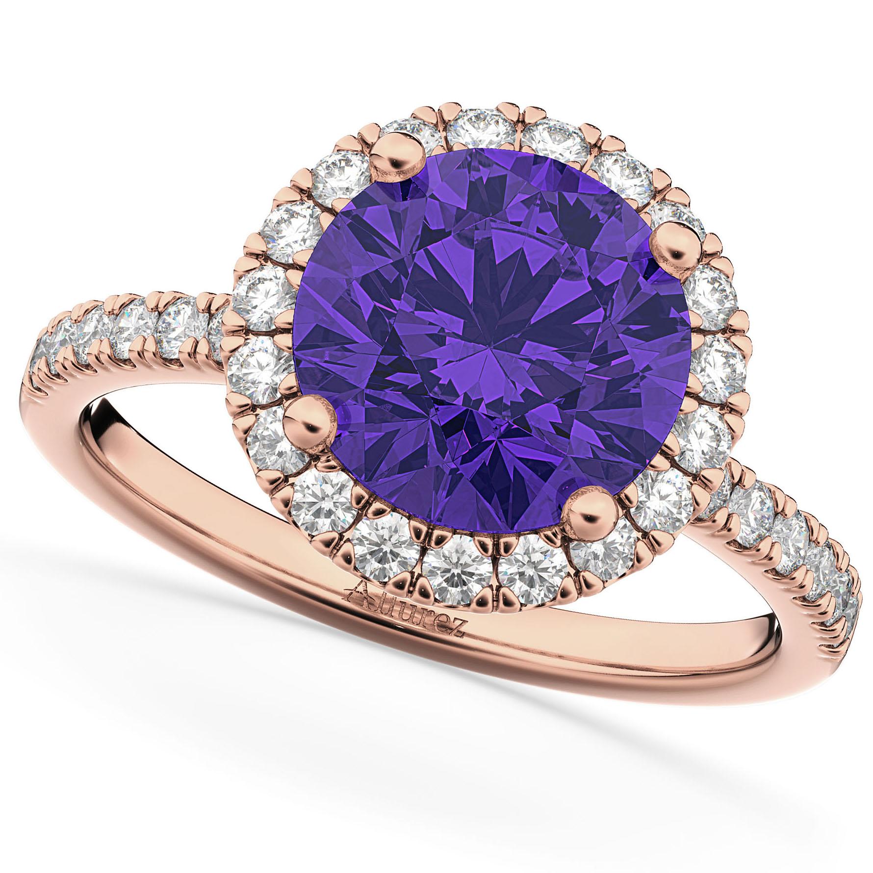 Halo Tanzanite & Diamond Engagement Ring 14K Rose Gold 2.80ct