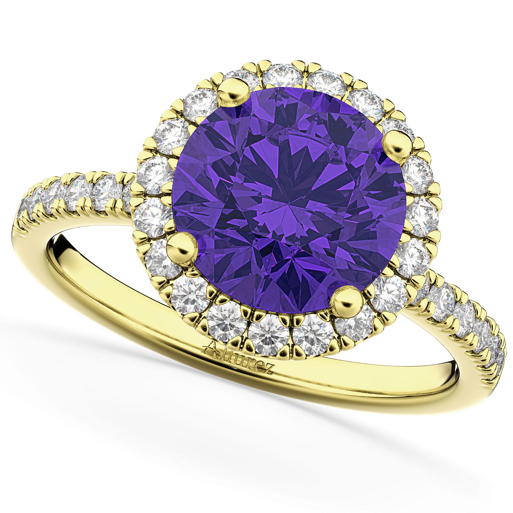 Halo Tanzanite & Diamond Engagement Ring 18K Yellow Gold 2.80ct