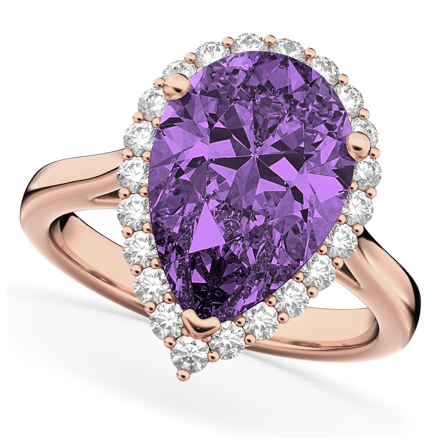 Pear Cut Halo Amethyst & Diamond Engagement Ring 14K Rose Gold 5.44ct