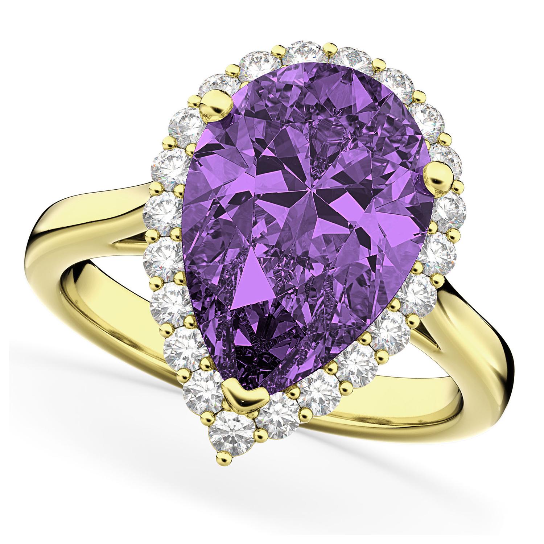 Pear Cut Halo Amethyst & Diamond Engagement Ring 14K Yellow Gold 5.44ct