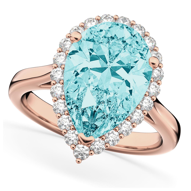 Pear Cut Halo Aquamarine & Diamond Engagement Ring 14K Rose Gold 6.04ct