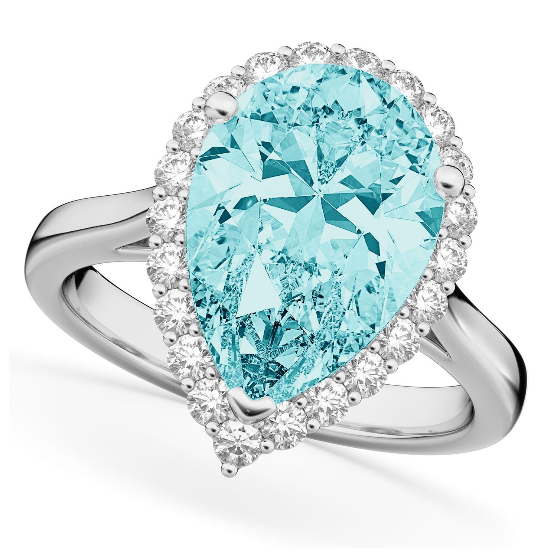 Pear Cut Halo Aquamarine & Diamond Engagement Ring 14K White Gold 6.04ct