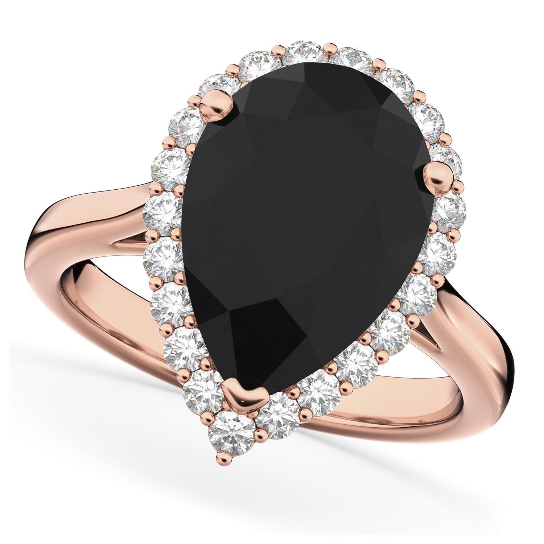 Pear Black Diamond & Diamond Engagement Ring 14K Rose Gold (4.69ct)
