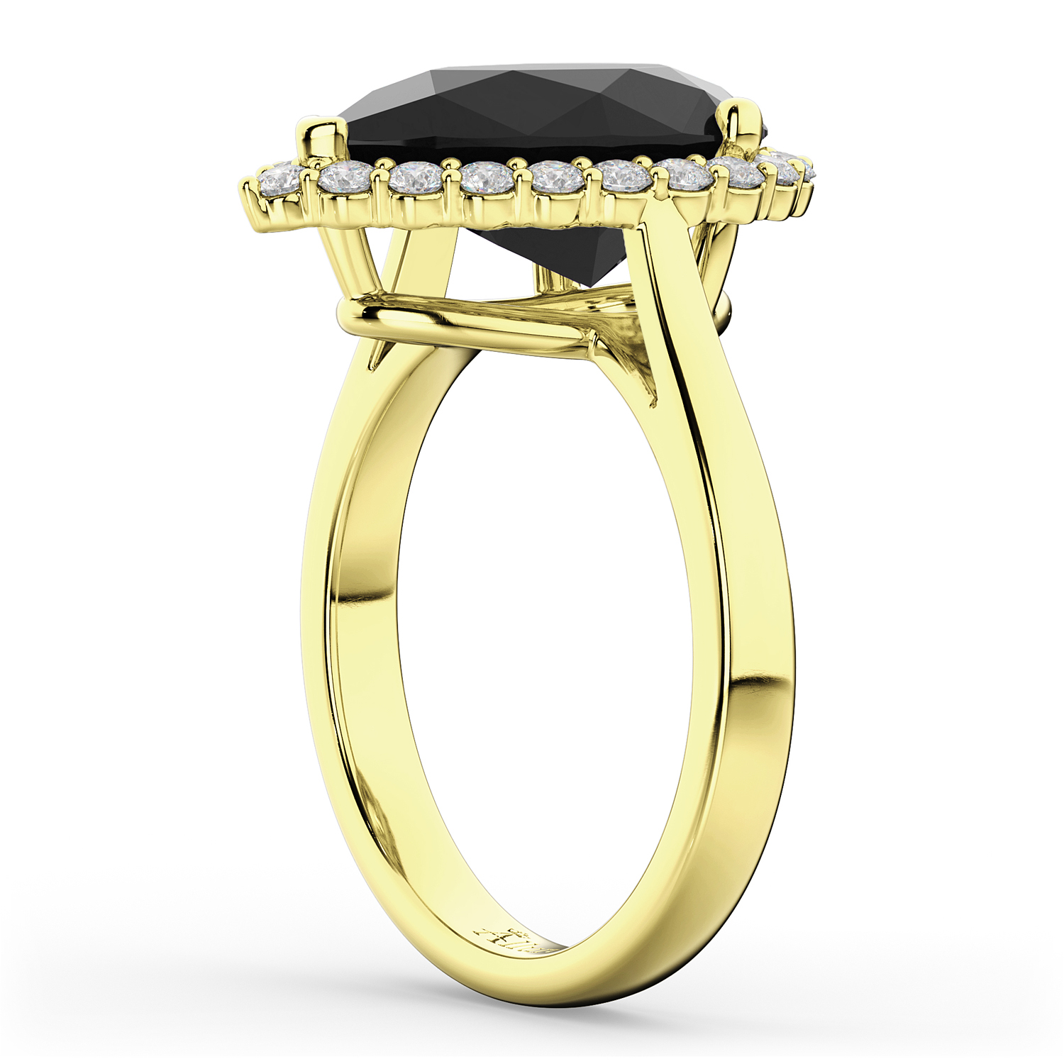 pear black engagement ring 14k yellow