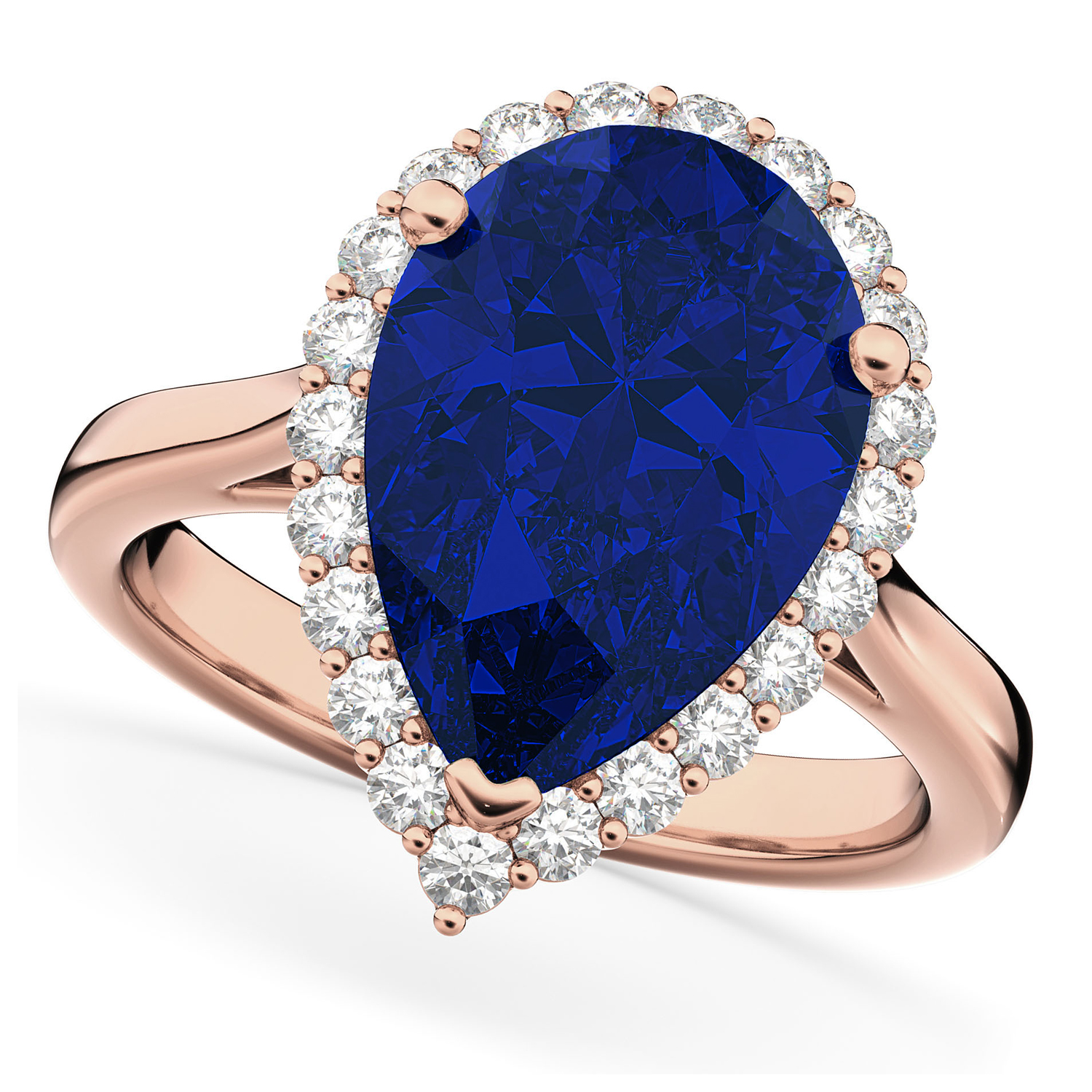 Pear Cut Halo Blue Sapphire & Diamond Engagement Ring 14K Rose Gold 8.34ct
