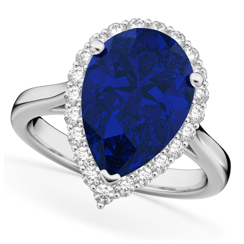 Pear Cut Halo Blue Sapphire & Diamond Engagement Ring 14K White Gold 8.34ct