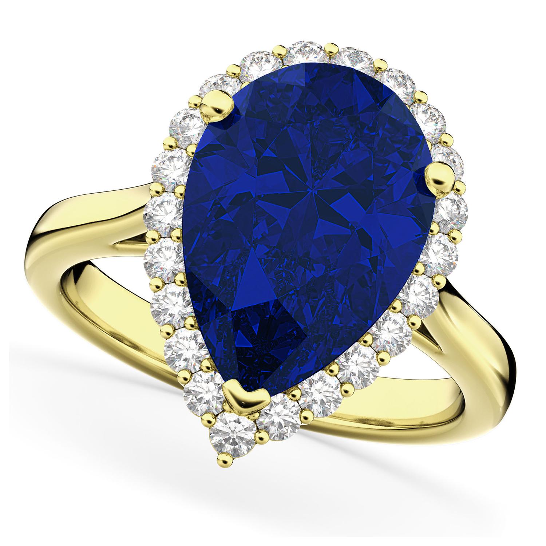 Pear Cut Halo Blue Sapphire & Diamond Engagement Ring 14K Yellow Gold 8.34ct