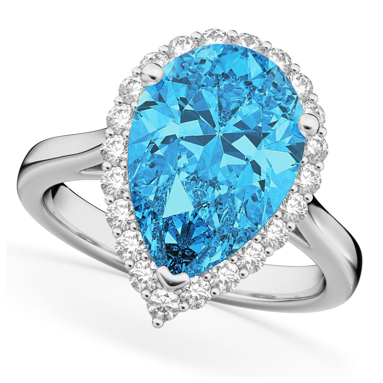 Pear Cut Halo Blue Topaz & Diamond Engagement Ring 14K White Gold 8.94ct