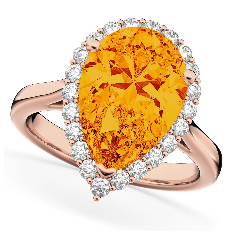 Pear Cut Halo Citrine & Diamond Engagement Ring 14K Rose Gold 5.44ct