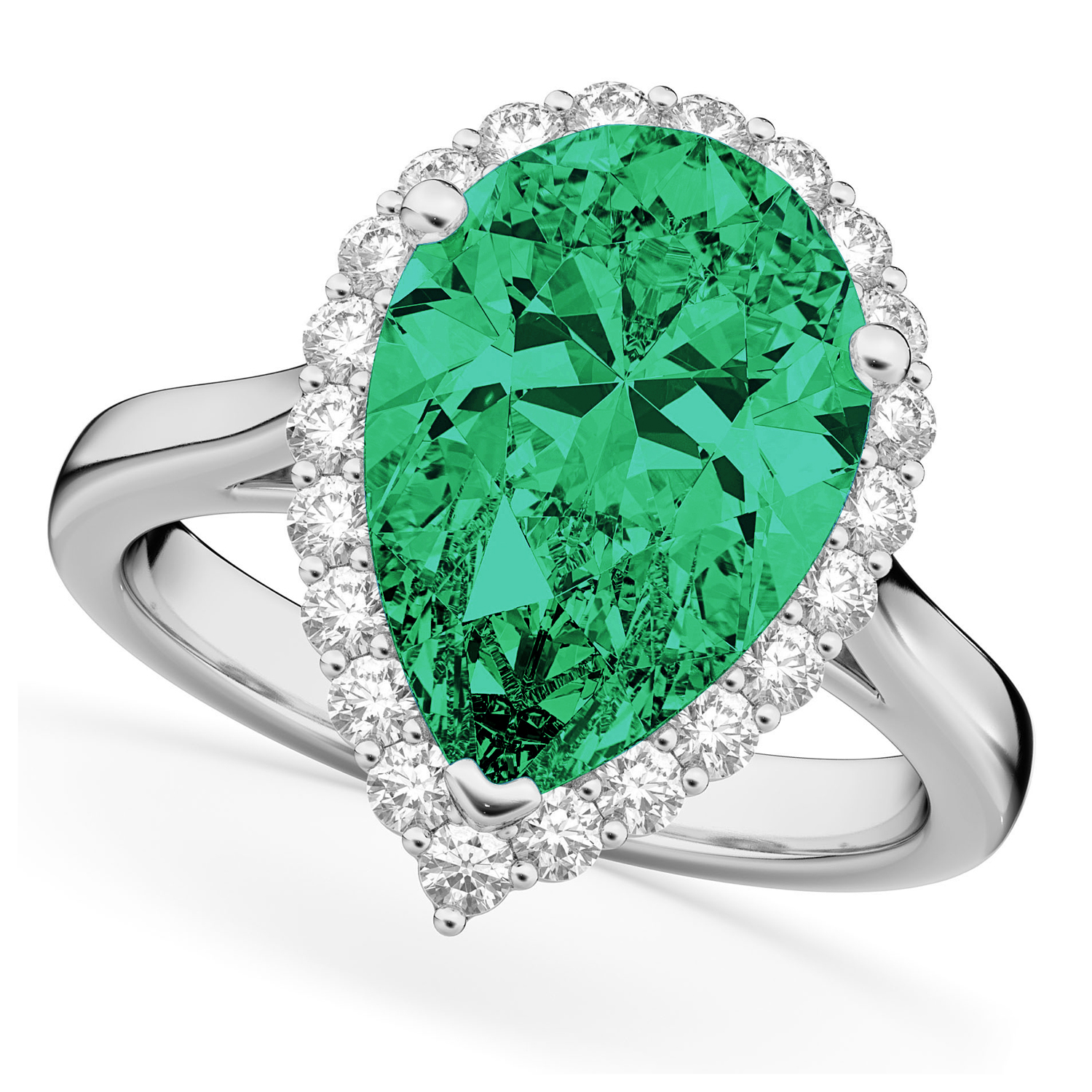 Pear Cut Halo Emerald & Diamond Engagement Ring 14K White Gold 6.54ct