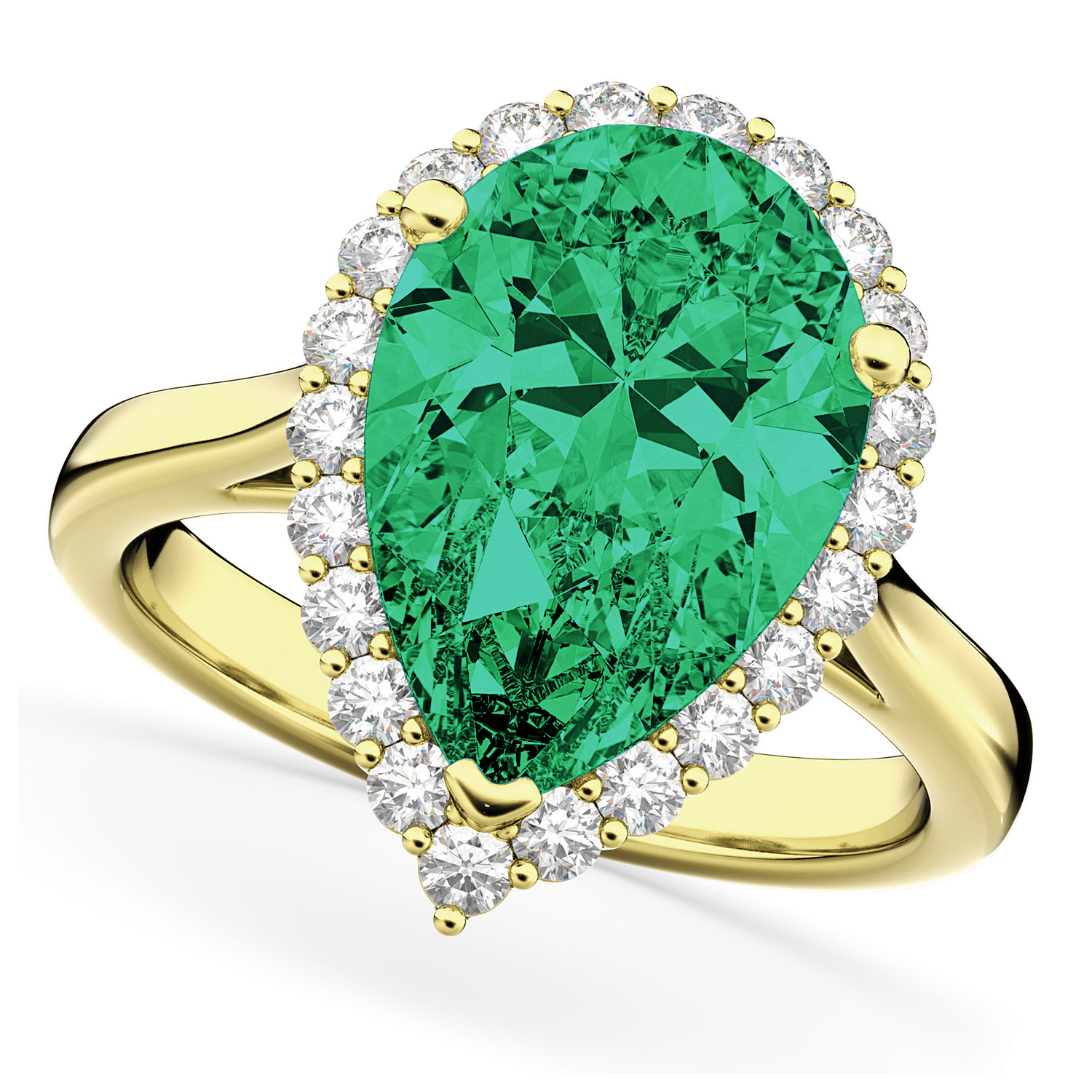 Pear Cut Halo Emerald & Diamond Engagement Ring 14K Yellow Gold 6.54ct