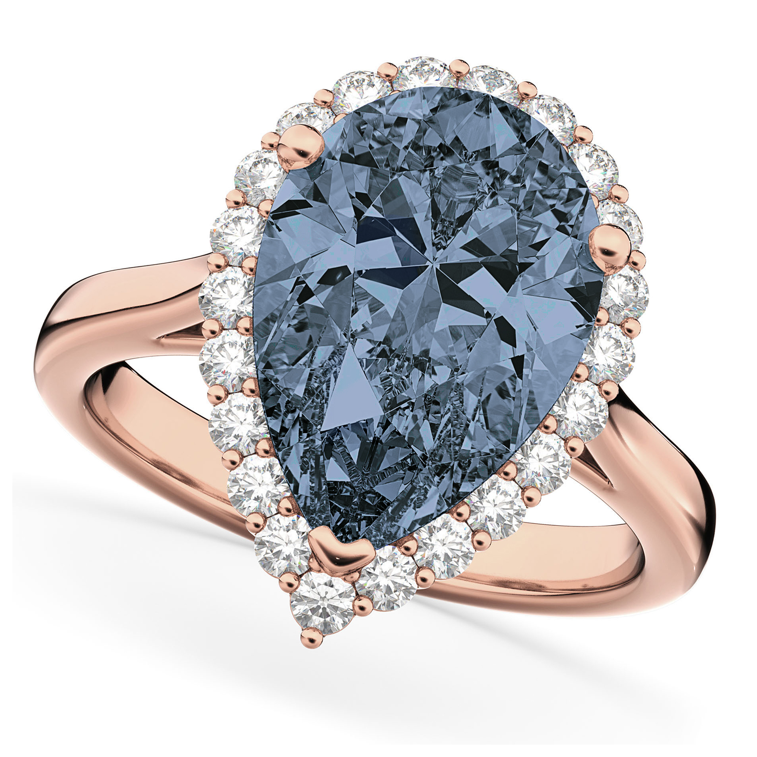 Pear Cut Halo Gray Spinel & Diamond Engagement Ring 14K Rose Gold 4.69ct