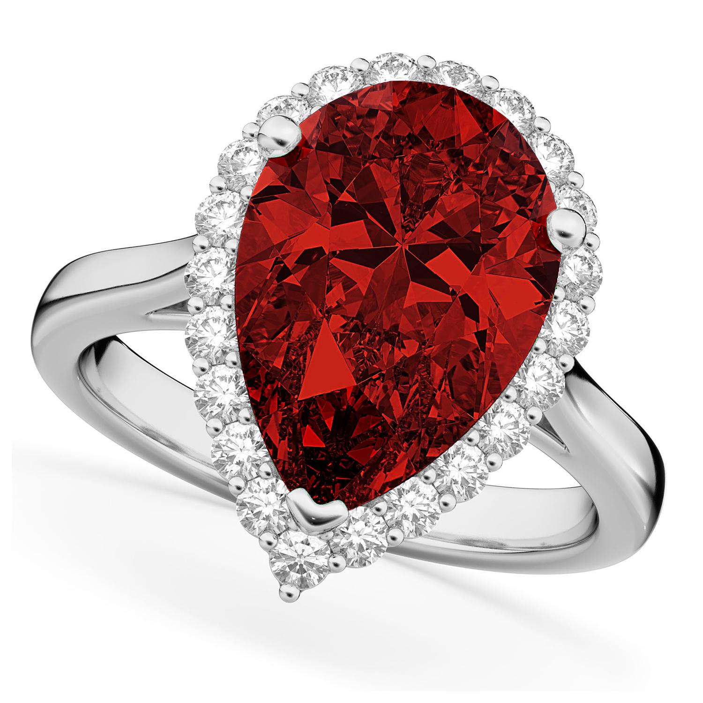 Pear Cut Halo Garnet & Diamond Engagement Ring 14K White Gold 6.24ct