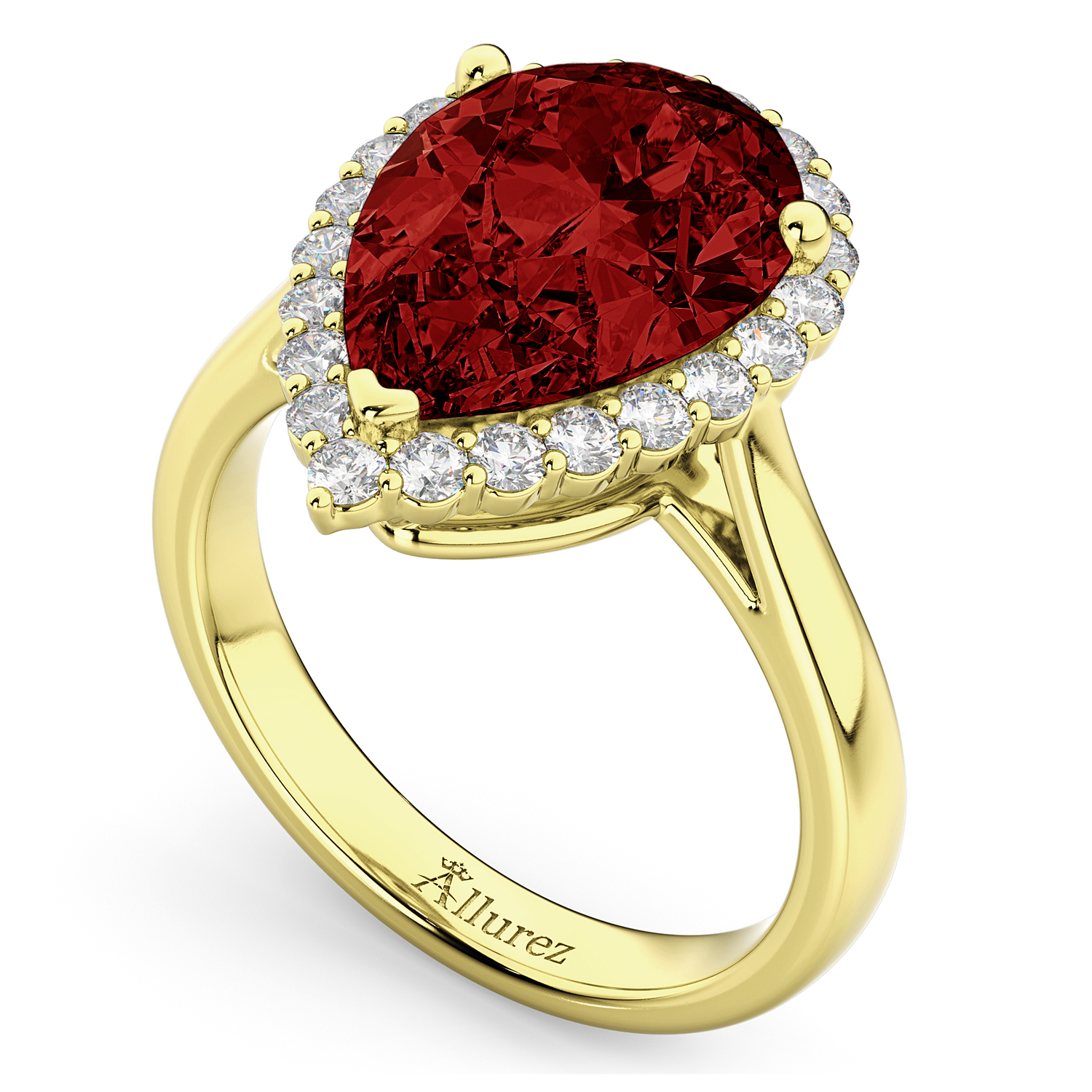 pear cut halo garnet engagement ring 14k yellow