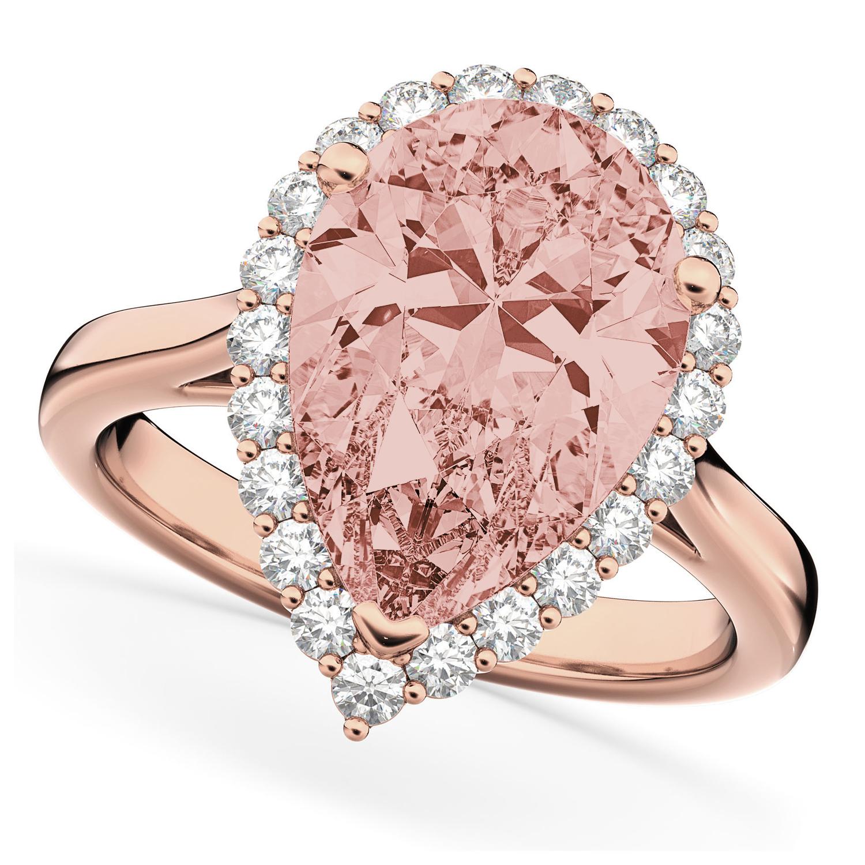 Pear Cut Halo Morganite & Diamond Engagement Ring 14K Rose Gold 4.74ct